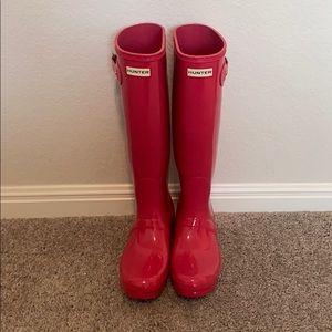 Hot pink Hunter Rain boots